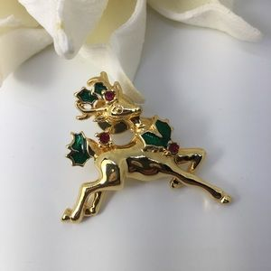 🎄Reindeer pin brooch festive holiday Christmas